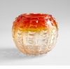 Small Round Orange Glass Vase by Cyan Design