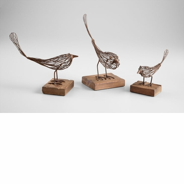 Small Rustic Iron & Wood Bird Sculpture by Cyan Design
