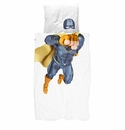 Snurk Blue Superhero Duvet Cover and Case - Twin