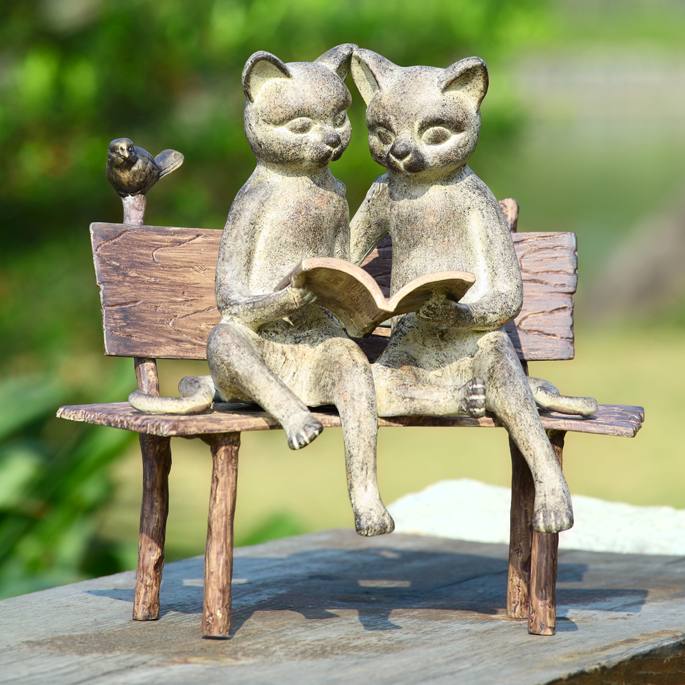 Garden Decor Cats: Reading Cats On Bench Garden Statue By SPI Home $128, You