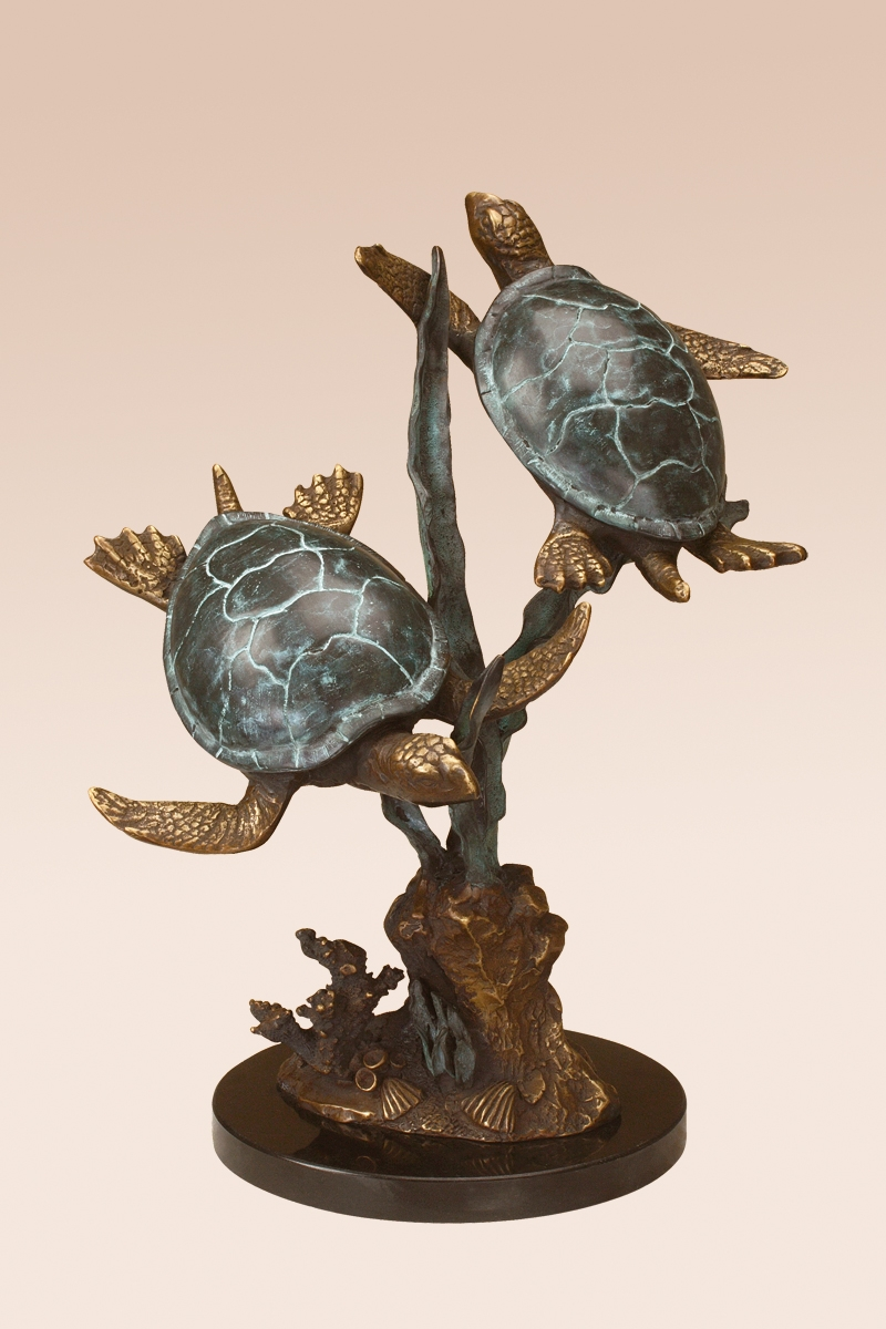 Sea turtle duet with seagrass sculpture by spi home 341 Home decor sculptures