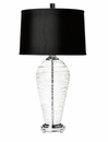 Spiral Glass Lamp With Black Shade (3 Way And 150W) Home Decor