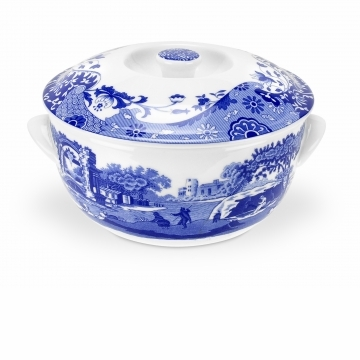 Spode Blue Italian  8 Cups Round Covered Deep Dish