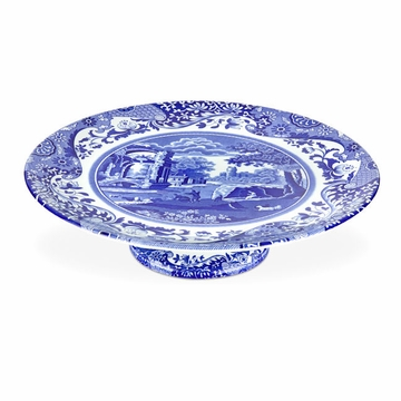 Spode Blue Italian Footed Cake Plate