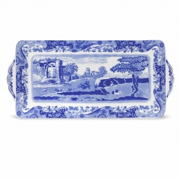 Spode Blue Italian Sandwich Tray with Handles
