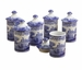 Spode Blue Italian Set of 6 Spice Jars