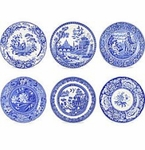"Spode Blue Room 10.5"" Georgian Scenes Plates (Set of 6)"
