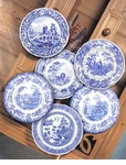 "Spode Blue Room 10.5"" Traditions Scenes Plates Set of 6"