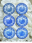 "Spode Blue Room 10.5"" Zoological Scenes Plates Set of 6"