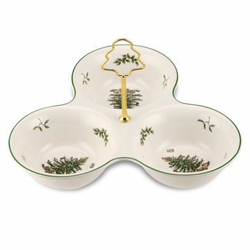 Spode Christmas Tree 3-Section Server with Tree Handle