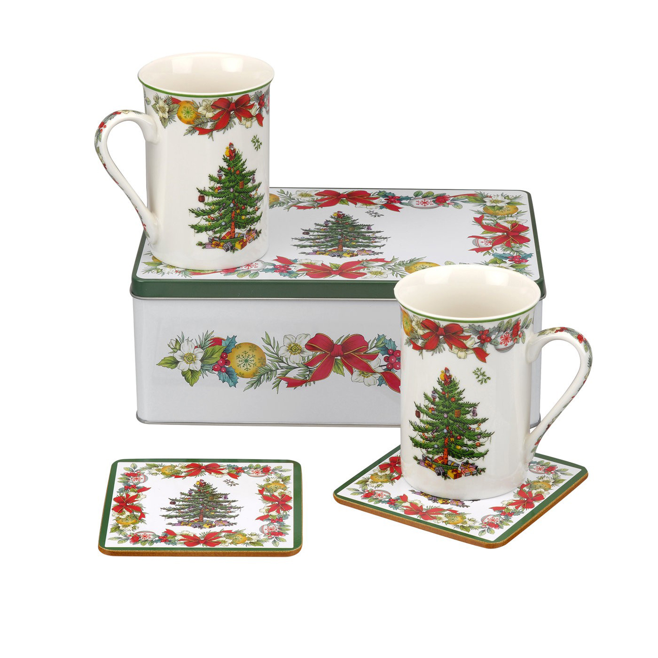 Spode Christmas Tree China Sale: Spode Christmas Tree 5 Piece Tin Set: 2 Mugs, 2 Coasters