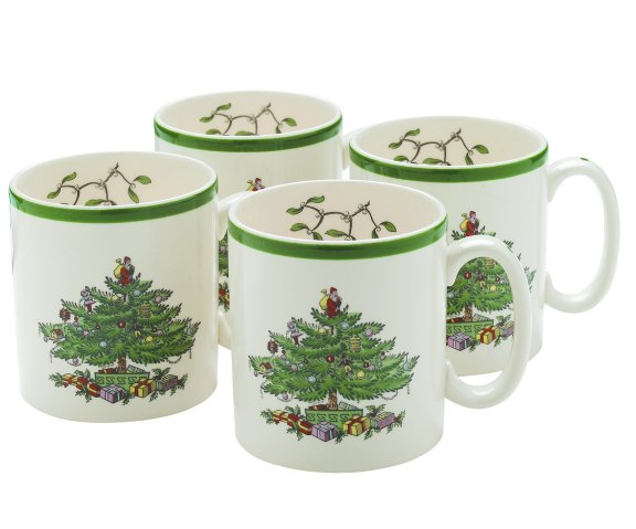 Spode Christmas Tree 9 Oz Mugs Set Of 4 $60, You Save $60.00