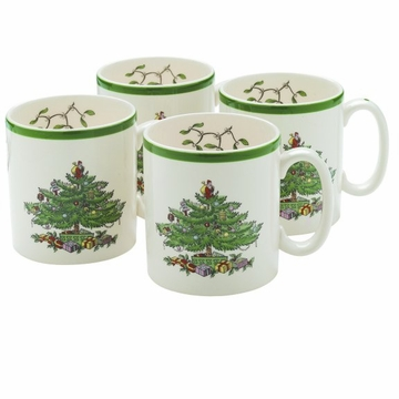 Spode Christmas Tree 9 oz Mugs Set of 4