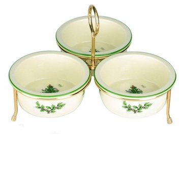 Spode Christmas Tree Bowls Set (3) with Gold Metal Rack