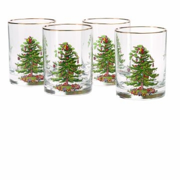 Spode Christmas Tree Double Old Fashioned Glasses