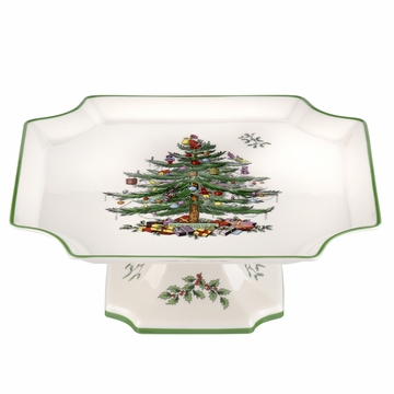 Spode Christmas Tree Footed Square Cake Plate