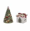 Spode Christmas Tree Gold Figural Tree and Gift Box Salt & Pepper Set