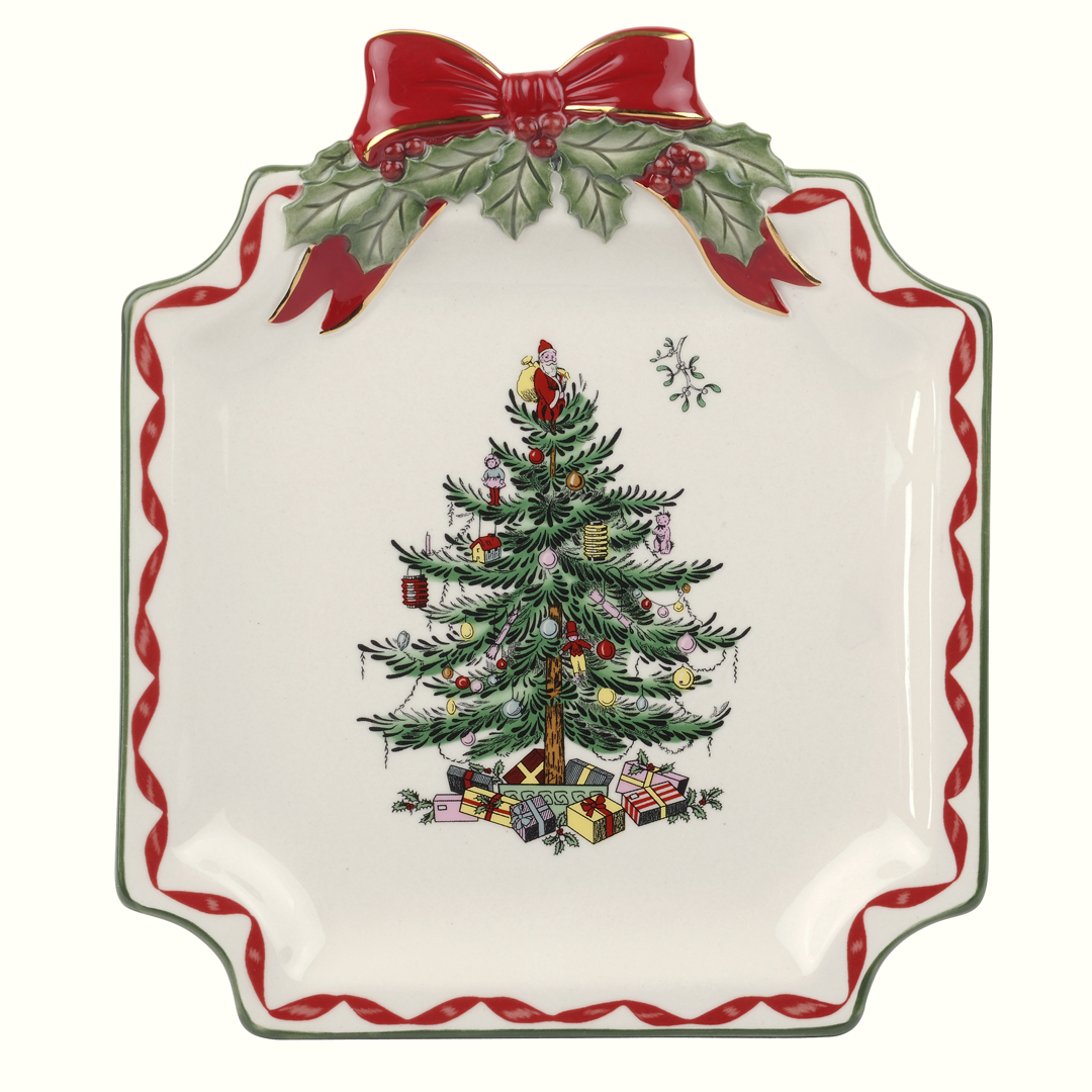 Spode christmas tree gold ribbons canap plate 15 you for Decoration canape