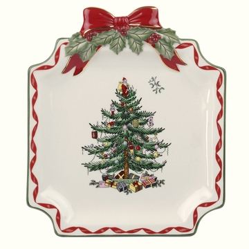 Spode Christmas Tree Gold Ribbons Canapé Plate