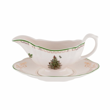 Spode Christmas Tree Gold Sauce Boat & Stand