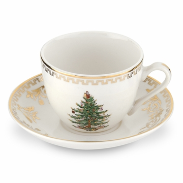 Spode Christmas Tree Gold Teacup & Saucer