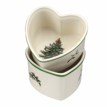 Spode Christmas Tree Heart Ramekins Set of 2