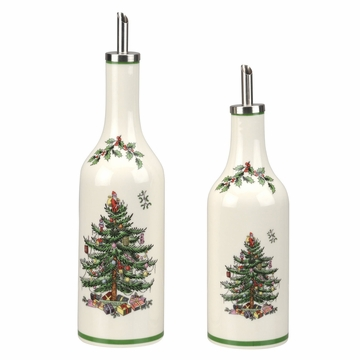 Spode Christmas Tree Oil and Vinegar Drizzler Set