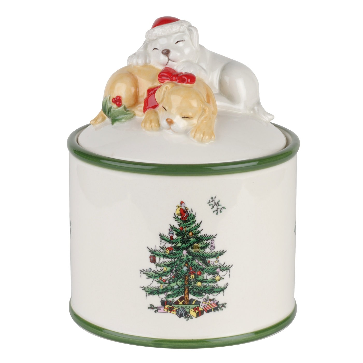 Great Spode Christmas Tree Puppy Candy Jar