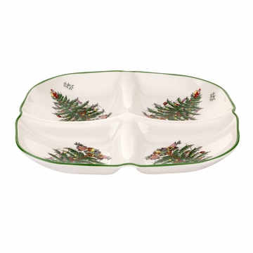 Spode Christmas Tree Sculpted 4-Section Tray