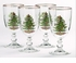 Spode Christmas Tree Set of Four Pedestal Goblets