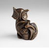 Stylized Owl Bronzed Iron Sculpture by Cyan Design