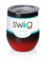 Swig 12 oz Stemless Wine Glass Ombre Black/Red