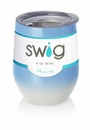 Swig 12 oz Stemless Wine Glass Ombre Blue/White