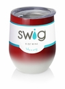 Swig 12 oz Stemless Wine Glass Ombre Crimson/White
