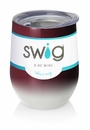 Swig 12 oz Stemless Wine Glass Ombre Maroon/White