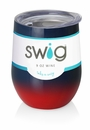 Swig 12 oz Stemless Wine Glass Ombre Navy/Red