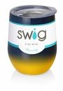 Swig 12 oz Stemless Wine Glass Ombre Navy/Yellow