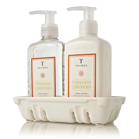 The thymes mandarin coriander hand wash lotion sink set Hand wash and lotion caddy