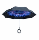 Topsy Turvy Inverted Reversible Umbrella Black with Blue Flower