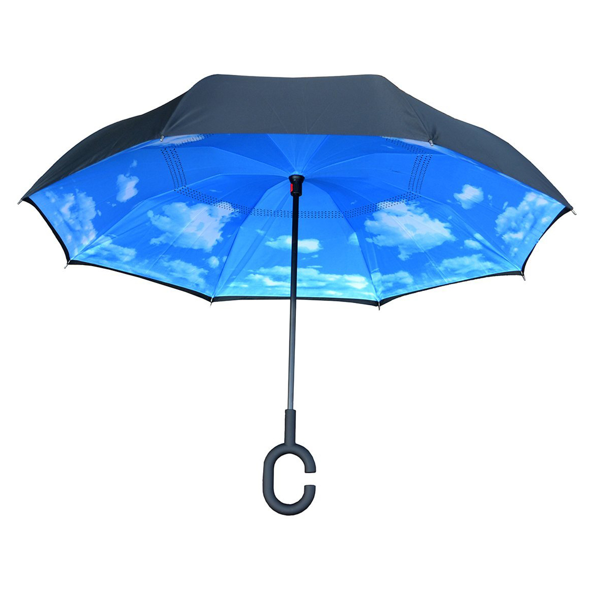 Topsy Turvy Inverted Reversible Umbrella Black with Blue Sky