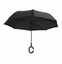Topsy Turvy Inverted Reversible Umbrella Black with Polka Dot
