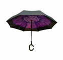Topsy Turvy Inverted Reversible Umbrella Black with Purple Flower