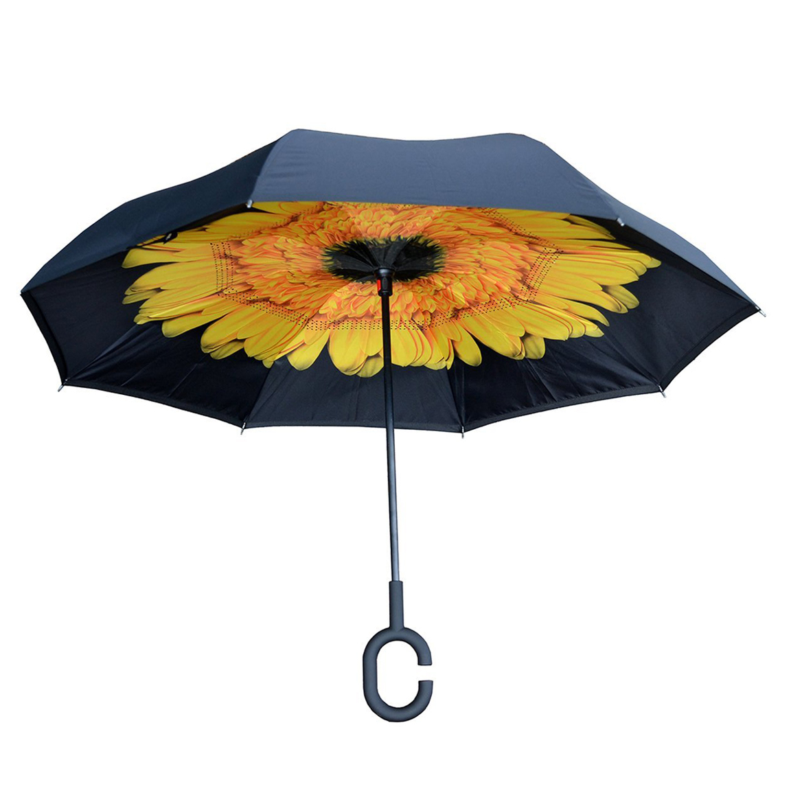 Topsy Turvy Inverted Reversible Umbrella Black With Sunflower