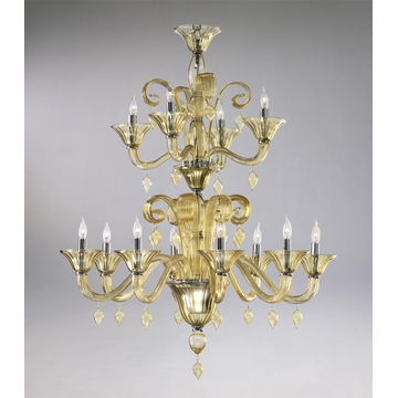 Treviso 12 Light Amber Chandelier by Cyan Design