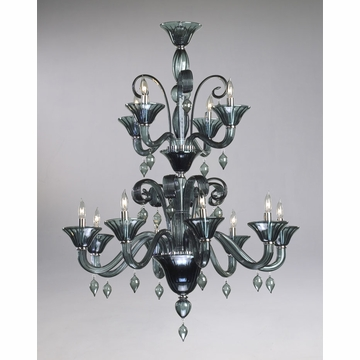 Treviso 12 Light Indigo Smoke Glass Chandelier by Cyan Design