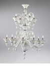 Treviso 12 Light White Glass Chandelier by Cyan Design
