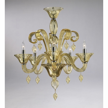 Treviso 5 Light Amber Chandelier by Cyan Design