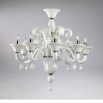 Treviso 8 Light White Glass Chandelier by Cyan Design