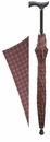 Unisex Burgundy Checked Cane Umbrella by Concord