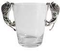 Vagabond House Lion Ice Bucket - Pewter and Glass